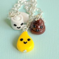 Handmade Toilet Paper, Pee Drop and Poop Three-Way Best Friend Necklaces