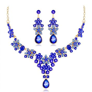 FARLENA Silver Plated Exquisite Flowers Necklace Earring Set for Bride Fashion Crystal Rhinestone Wedding Jewelry sets