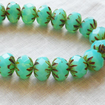 Lot of 25 6 x 9mm Czech milky green turquoise picasso faceted carved cruller beads, Czech glass rondelles 08301
