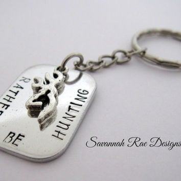 Rather Be Hunting key chain. Handstamped key chain. Hunting keychain. Hunter key chain