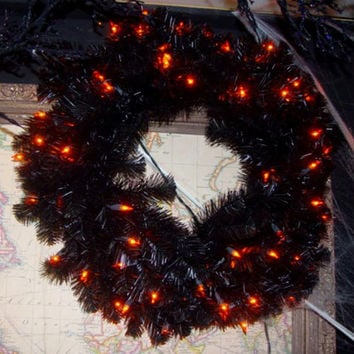 Black Halloween Wreath - 50 Orange Mini Lights On Black Wire