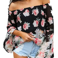 Persun Women Black Floral Off Shoulder Batwing Sleeve Blouse