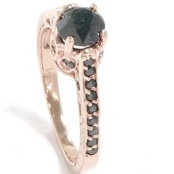 1.23CT Black Diamond Rose Gold Vintage Engagement Ring 14K Size 7