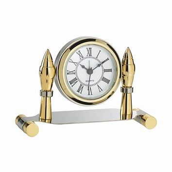 Personalized Free Engraving Silver Gold Two Tone Desk Clock