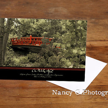 "Greeting Card, Japanese Garden, Red Bridge, Courage, Inspirational, Photographic, 5""x7"", Card, Greeting Cards, Paper Goods, Motivation"