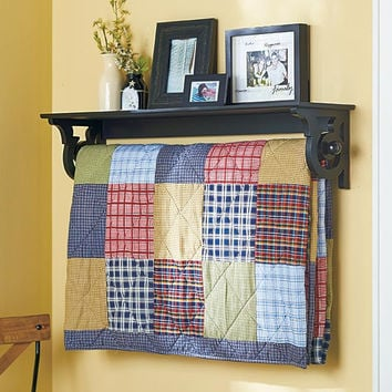 Quilt Rack with Display Shelf Wall Mounted Blanket Throw Hanger Country