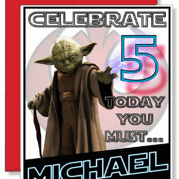 Personalized Birthday Greeting Card Star Wars Yoda