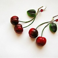 Cherry earrings pin-up style fashion jewelry by AbraKadabraJewelry