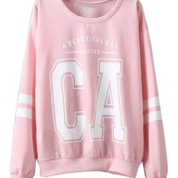 Pink Printed Striped Long Sleeve Sweatshirt