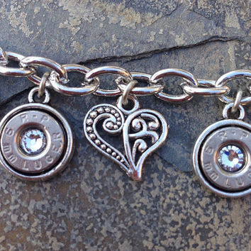 Bullet jewelry. Bullet charm bracelet with hearts
