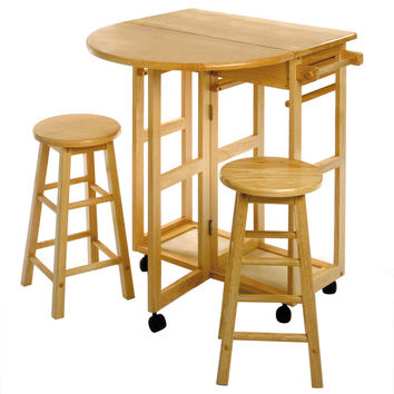 Space Saver Drop Leaf Table with Two Round Stools by Winsome Woods