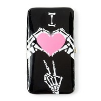 Skeleton I Heart Peace Hardcase Wallet  | Claire's