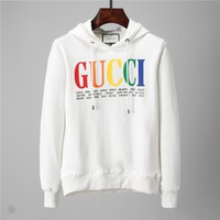 GUCCI autumn and winter new classic color letters casual loose hooded sweater White