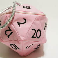 Pink and Black D20 Gamer Dice Bag (Large), Dungeons and Dragons, D&D, gamer, coin purse bag, geek, tabletop gaming