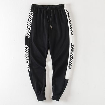 """Supreme"" New Popular Women Men Casual Exercise Sport Pants Trousers Boy Girl Sweatpants Black"