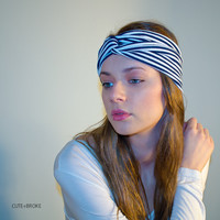Turban headband striped navy NEW