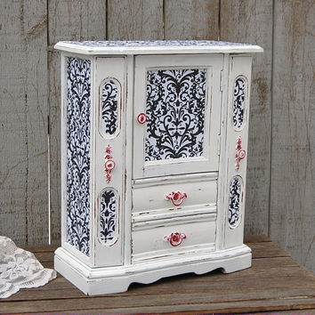 White shabby chic jewelry armoire
