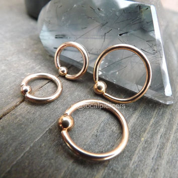 "Rose Gold Nipple Rings 14g 1/2"" 12mm Captive Bead Septum Nose Ring Conch Piercing 5/16"" 8mm Earring Daith Hoop Cartilage Rings Body Jewelry"
