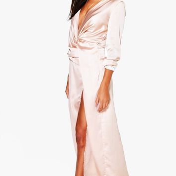 Boutique Iona Satin Wrap Detail Maxi Dress | Boohoo