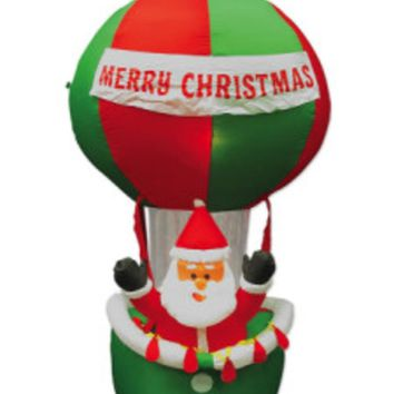 7' Inflatable Santa in Hot Air Balloon Lighted Christmas Yard Art Decoration