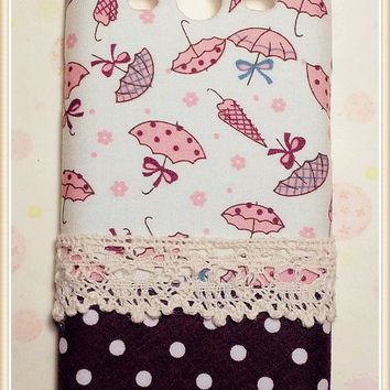 Diy Handmade Cloth Art Phone Case no.72 Pink umbrella for Samsung Galaxy S4 S3 Note 2 S2 Epic 4G Touch D710 HTC Sensation XE XL One X S V