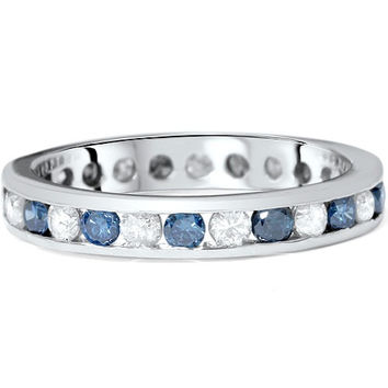 1.00CT Blue & White Diamond Eterntiy Guard Ring 14K White Gold