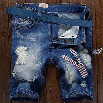 Denim Men Korean Slim Ripped Holes Pants Shorts [10699374467]