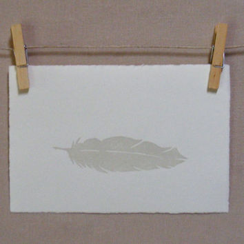 Bird  Grey Feather  Hand Pulled Print by WoodenSpoonEditions