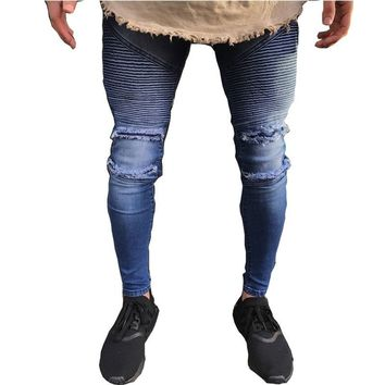 2018 NEW men Biker jeans ripped denim slim motorcycle pant men classic rap hip hop skinny casual stretch Joggers jeans men blue
