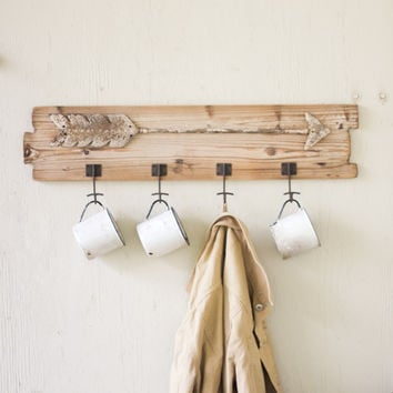 Recycled Wooden Coat Rack with Arrow