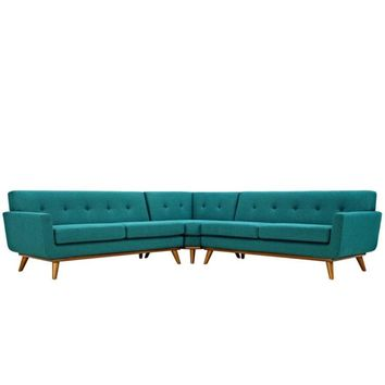 Engage L-Shaped Sectional Sofa, Teal -Modway