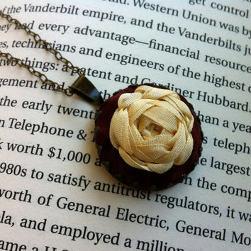 Burgundy Embroidered Rose Pendant Necklace - Silk Ribbon Embroidery by BeanTown Embroidery