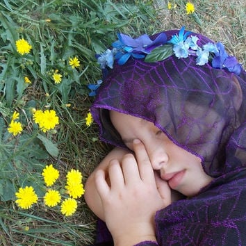 Woodsy Purple and Blue Fairy Flower Garland Crown with Leaves, Forest Fairy Headpiece, Hydrangea Headband, Blue Festival Floral Crown D20