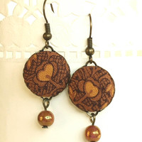 Dangle Earrings - Autumn Flowers - Brown Flowers and Leaves with Unique Iridescent Czech Beads - Warm Fall Fabric Covered Buttons Earrings