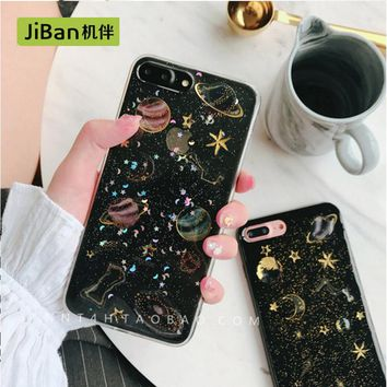 JiBan Space star mobile phone shell for iphone 6 / 6s plus case personality men and women models for iphone 7 7plus cases