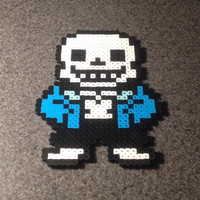 Large Sans Magnet - Undertale Perler Bead Sprite - Skeleton Pixel Fan Art - Papyrus Frisk Flowey Annoying Dog