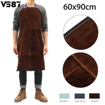 Welding Apron Work Protective Clothing Dustproof Uniform Apron Safety Fire-Retardant Insulation Split Cow Leather