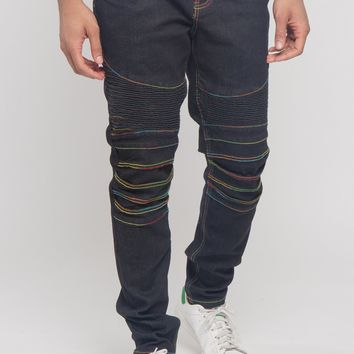 Rainbow Stitch Raw Denim Jeans