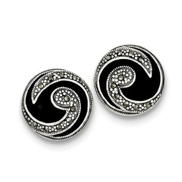 Sterling Silver Onyx & Marcasite Post Earrings