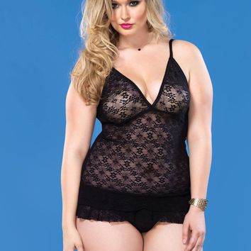 Lace Chemise With Layered Ruffle Skirt (Plus Size,Fuchsia)