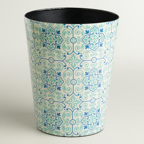 Blue Turquoise Tile Trash Can From Cost Plus World Market