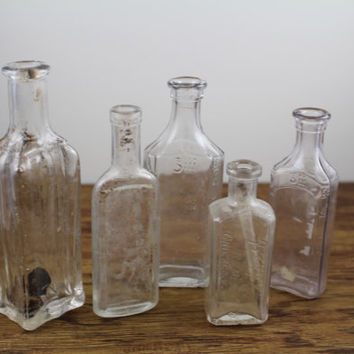 Antique Glass Apothecary Bottles. Medicine Bottles. Glass Bottle Set