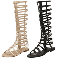 Knee High Gladiator Sandals Cutout Flat Strappy Summer Shoes