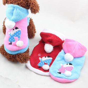 Small Pet Dog Puppy Fleece Coat Clothes Hoodie Warm Sweater Costumes = 1931658884