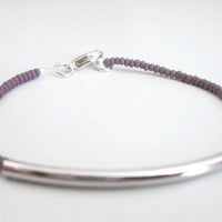 Silver Bar Bracelet, Purple Seedbead Bracelet