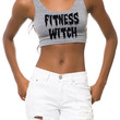 The Fitness Witch Crop Tank in Athletic Grey