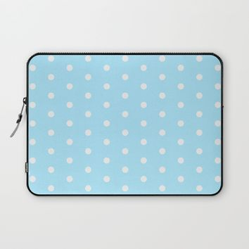 Polka dot pattern, classic blue, dotted, retro style design, white points, circles, vintage pin-up Laptop Sleeve by Peter Reiss