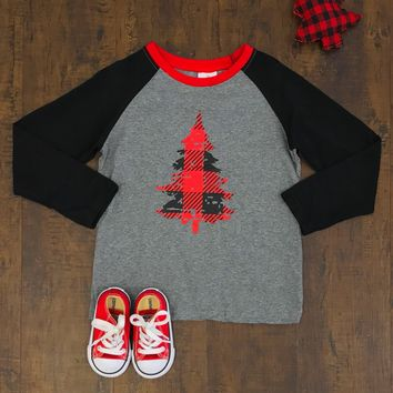 BUFFALO PLAID CHRISTMAS TREE T-SHIRT