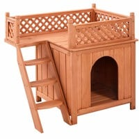 Wooden Puppy Pet Dog House Wood Room In/Outdoor Raised Roof Balcony Bed Shelter  PS6091