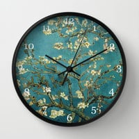 Blossoming Almond Trees, Vincent van Gogh. Famous vintage fine art. Wall Clock by ArtsCollection